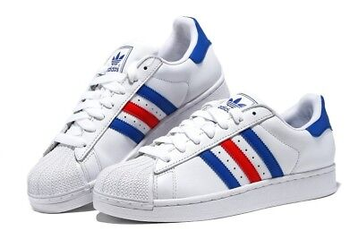 Scarpe Adidas Superstar - Color White Red Blue - Sneakers Uomo/Donna Unisex
