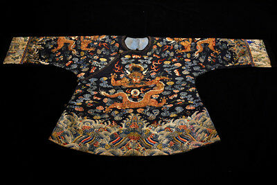 Antique Qing Dynasty Chinese Silk Embroidery Dragon Robe Rank Badge