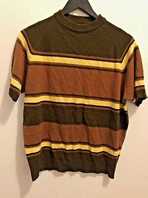 Vintage striped Towncraft short sleeve Sweater 1960's Brown and yellow JC Penney