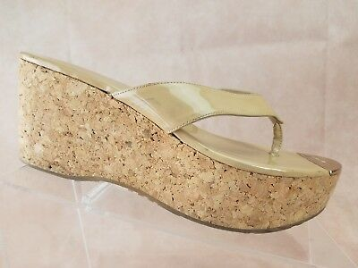 6ab1c396e817 Jimmy Choo Pathos Cork Wedge Sandal Size 8 US 38 EU Womens Nude Patent  Leather