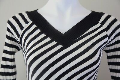 Super Cute Striped Blouse with V-Neck and V-Back-Excellent Condition