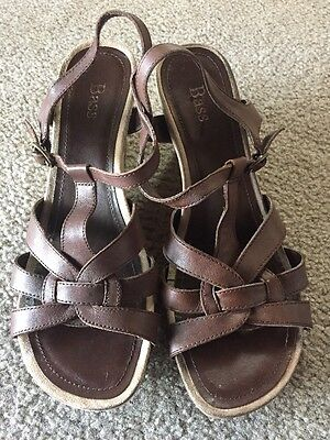 d98a928380c 8.5m Bass womens Strappy Wedge Sandals Brown Buckle Woven 8.5 casual work  shoes
