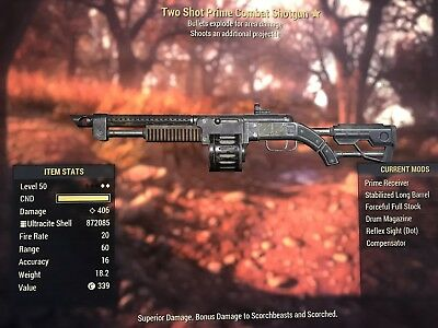 Fallout 76 - Two Shot Explosive Combat Shotgun (PS4) +15000 Ammo +4000 Nuka Col0
