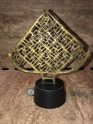 Rare Antique Mounted Brass Or Bronze Whirling Logs Buddhist Idol Pedestal