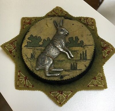 Rarest English Georgian Hand-stitched Felt Pen Wipe With Applied Silver Rabbit