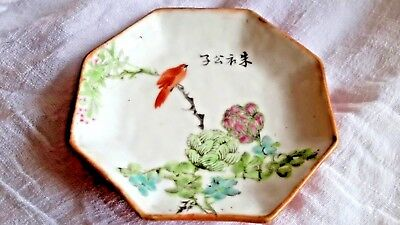 "Antique Asian Japanese Signed Octagon Hand Painted Dish 3 1/2"" BIRD FLOWERS TREE"