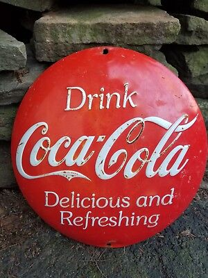 vintage old coke cola soda embossed metal button sign gas station general store