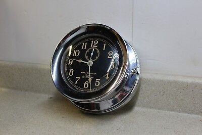 Seth Thomas Pre WW2 Nickel Case US Navy Mark 1 Deck Clock US Navy 1940 Mk1