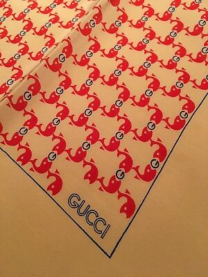 Vintage Classic Gucci Silk Scarf w/ Hand Rolled Edges mint!!
