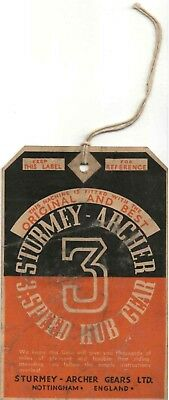 Vintage late 1940s-early 1950s Sturmey-Archer 3-speed bicycle hub hangtag