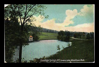 Dr Jim Stamps Us Saratoga Springs New York Lovers Lake Woodlawn Park Postcard
