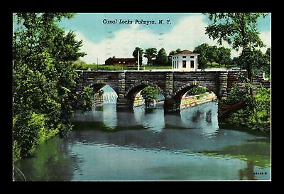 Dr Jim Stamps Us Canal Locks Palmyra New York Linen View Postcard