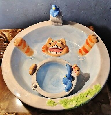 Vintage Ceramic Lotus Cat and Bird Bath Fountain with Dish Serving Bowl
