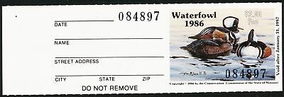 Dr Jim Stamps Us State Duck W/tab Missouri 1986 $3 Unused Og Nh No Reserve
