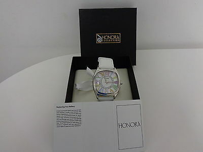 Honora Mother Of Pearl Rainbow Numeral White Leather Strap Women's Watch
