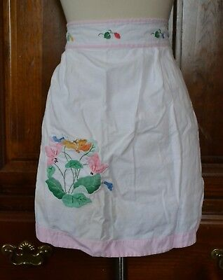 Vintage Small Pink White Floral Pocketed Half Apron