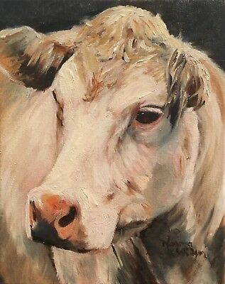 Norma Wilson Original Oil Cow Cattle Farm Animal House Decor Painting Art