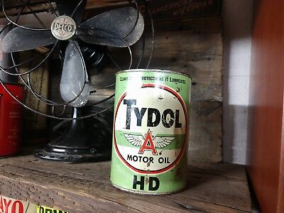 Tydol HD vintage 1 qt metal motor oil can old antique quart Veedol