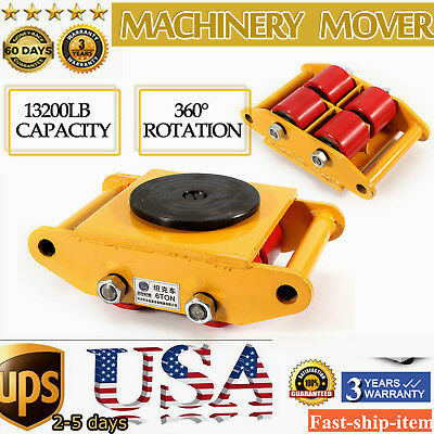 13200lb Heavy Duty Machine Dolly Skate Roller Machinery Mover 360° Rotation Cap