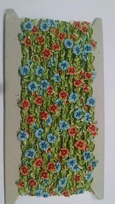 New vintage10 yards novelty ribbon with pink / blue flowers