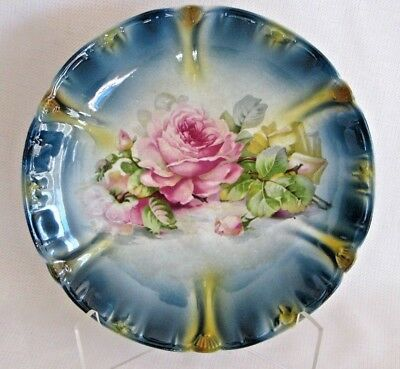 Royal Bonn Franz Anton Mehlem Plate Blue Pink Roses - Antique