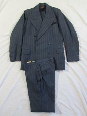 Vtg 30s 2 Pc Button Fly Suit Double Breasted Peak Lapel Gangster Jacket Pant 40s