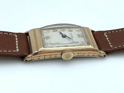 1930's ELGIN  ART DECO GOLD FILLED STEEL BACK MANUAL WIND 18.5mm X 39.5mm RUNS