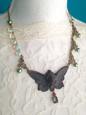 Patina Angel Cherub Gothic Statement Necklace Pendant Gift For Her Assemblage