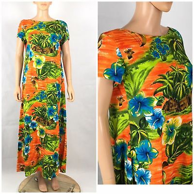 Vintage 60s 70s Bright Cotton Barkcloth Maxi Midi Hawaiian Dress Tiki Party M/L