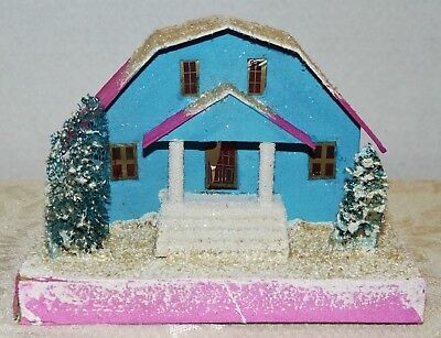 Vtg~Ex Large~Cardboard Xmas House~COCONUT MICA ROOF/BASE~GAMBREL ROOF~Columns~#2