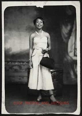 1940S Beautiful Black African American Lady In Dress & Pearls Rppc Found Photo