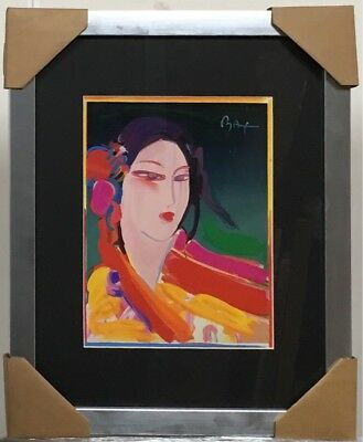 """Peter Max """"asian  Woman"""" Plate Signed Offset Lithograph On Paper Custom Framed"""