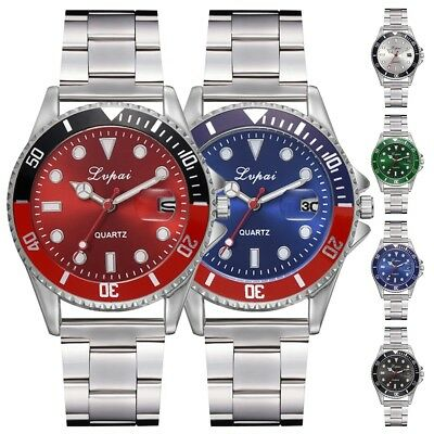 Fashion Men's Luxury Date Crystal Dial Stainless Steel Analog Quartz Wrist Watch