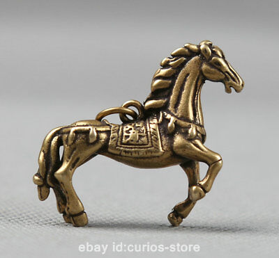 "1.7"" Collect Curio Chinese Bronze Zodiac Animal Horse Small Statue Pendant 17g 马"