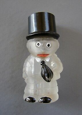 ANTIQUE  FIGURAL GLASS PERFUME BOTTLE Man with top hat
