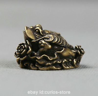 "1.3"" Curio Chinese Bronze Animal Golden Toad Spittor Flower Small Statue 24g财富金蟾"