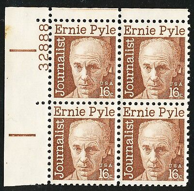 Dr Jim Stamps Us Scott 1398 Ernie Pyle Plate Block Og Nh No Reserve
