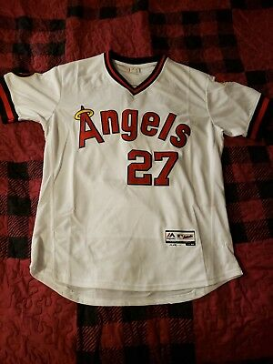 38655df35 ... wholesale mike trout california angels throwback jersey size large 44  los angeles anaheim 843ea 051e3