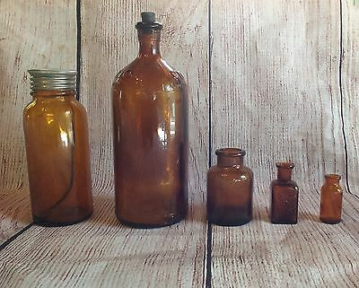 Mixed Lot of 5 Vintage Brown Amber Medicine Clorox Bottles Apothecary