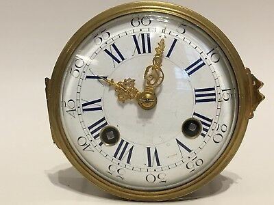19th c. French bell chime clock movement, blue numerals, ca. 3-5/8 diameter