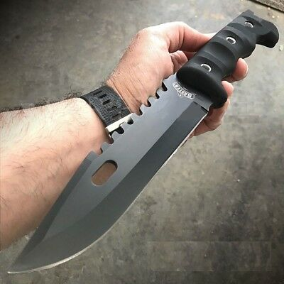 """12"""" TACTICAL SURVIVAL Rambo Full Tang FIXED BLADE KNIFE Hunting w/ SHEATH Rubber"""