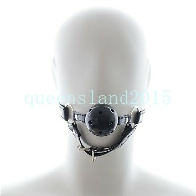 PU Leather-head-harness-bondage-open-mouth-gag-restraint-silicone-ball-adult-new