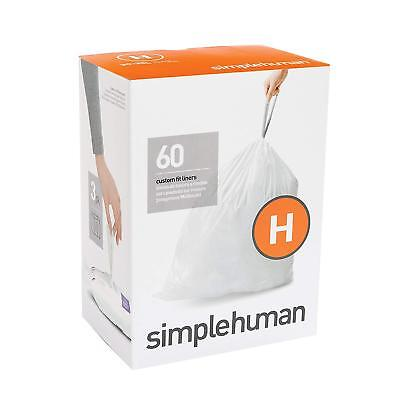 simplehuman Code H, Trash Bags, 30-35 Liter/8-9 Gallon, 3 Refill Packs, 60 Count