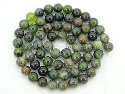 Auction 65Pcs Natural Dendrite Green Jade Gemstone Round Spacer Beads 15.5'' 6mm