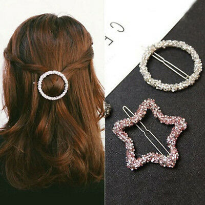 Chic Crystal Rhinestone Hairpin Women Girls Star Triangle Round Shape Hair Clip
