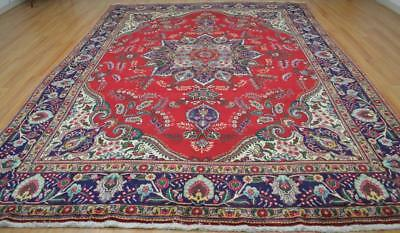 9'4 x 12'8 Genuine Semi Antique Persian Vase Tabrizz Hand Knotted Wool Area Rug