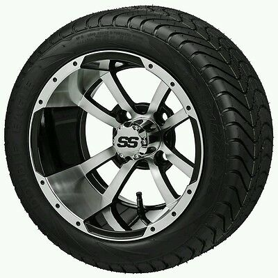 "Golf Cart 12"" Machine/black Stormtrooper Wheels With Low Pro 215/40-12 Dot Tire"