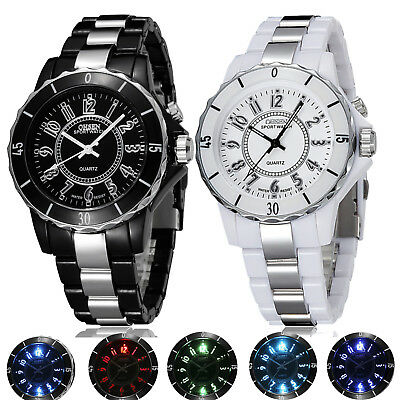 OHSEN Men Waterproof Colorful Light Stainless Steel Digital Quartz Wrist Watch