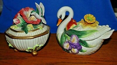 Two  Attractive Fitz and Floyd Collectible Boxes    The Swan and The Hummingbird