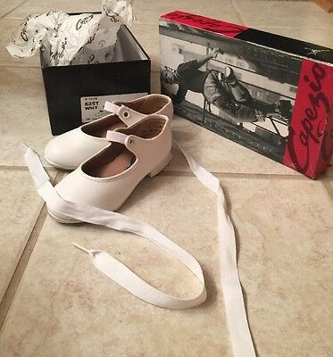 Capezio Jr. Tyette Youth White Leather Tap Dancing Shoes-Style 625T -Size 8.5  M